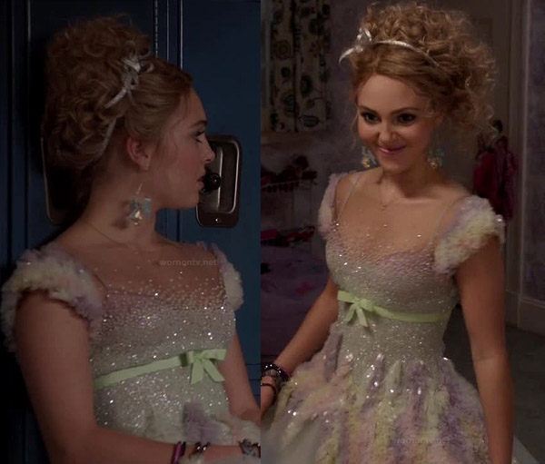 Carrie Bradshaws prom dress on The Carrie Diaries