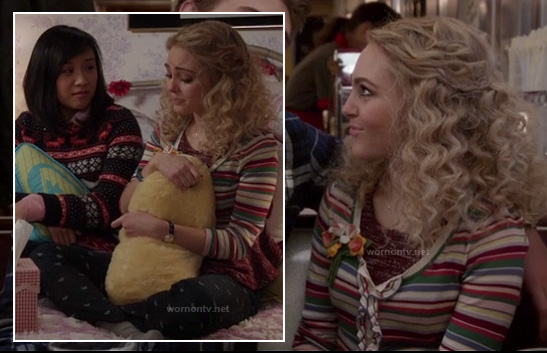 Carrie's striped ruffle cardigan and black heart print jeans on The Carrie Diaries
