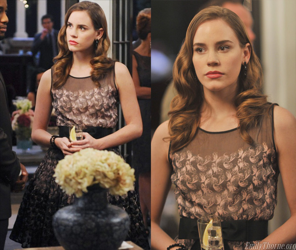 Charlotte's feather printed dress on Revenge