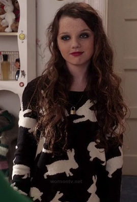 Dorrit's black and white bunny rabbit sweater on The Carrie Diaries