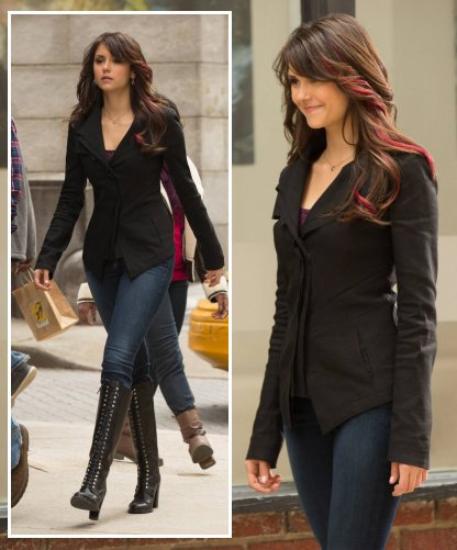 Elena's black blazer and lace up boots on The Vampire Diaries