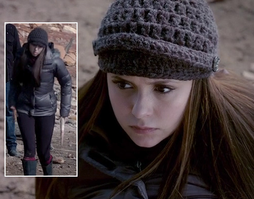 Elena's brown knitted beanie/cap on The Vampire Diaries