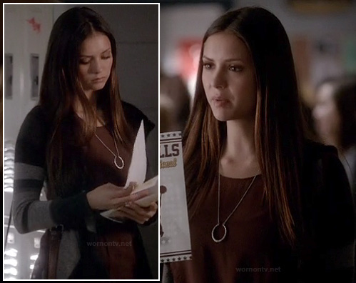 Elena's grey striped cardigan and crescent/circle necklace on The Vampire Diaries