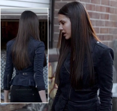 Elena's navy blue suede peplum moto jacket on The Vampire Diaries