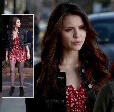 Elena's red and white dress with denim jacket and leather ankle boots on The Vampire Diaries