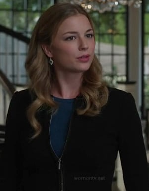 Emily's black zip up jacket and teal blue sweater on Revenge