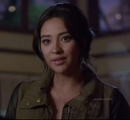 Emily's khaki green jacket with black leather sleeves on Pretty Little Liars
