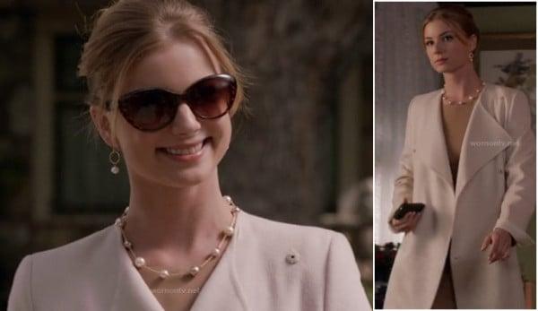Emily's tortoiseshell cat eye sunglasses and long cream coat on Revenge