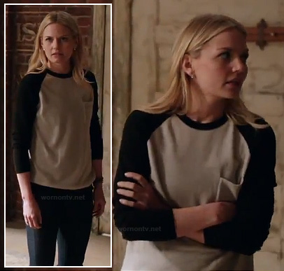 Emma's black and white baseball shirt on OUAT