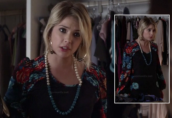 Hanna's black dress with long floral sleeves on Pretty Little Liars