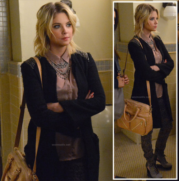 Hanna's black jacket with studded shoulders and grey lace up booties