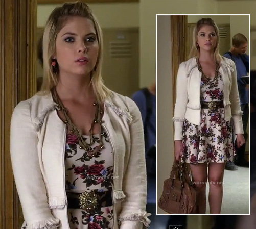 Hanna's white floral/rose print dress and white fringed jacket on Pretty Little Liars