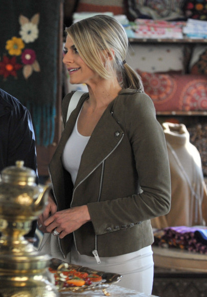 Jane's olive green moto jacket on Happy Endings