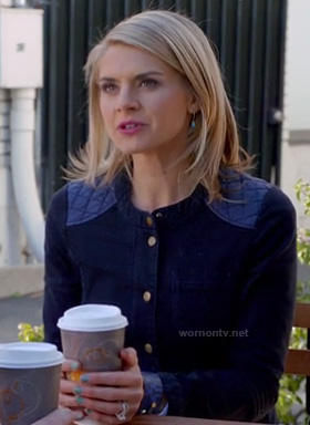 Jane's jacket with quilted shoulders and back on Happy Endings