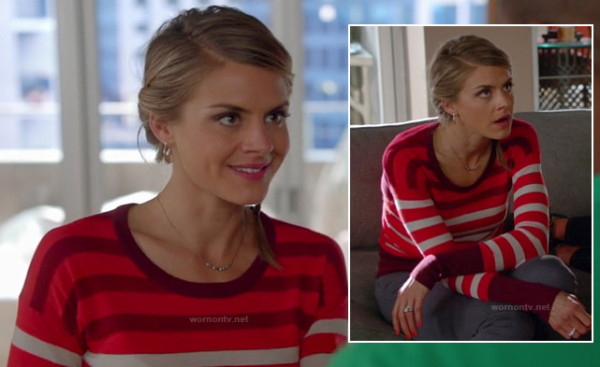 Jane's red white and purple striped sweater on Happy Endings