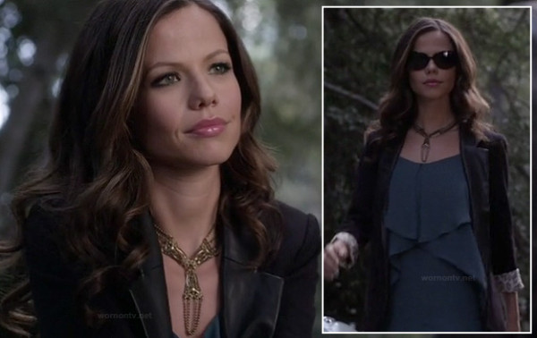Jenna's leather lapel blazer on PLL finale