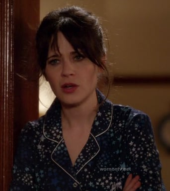 Jess's blue star PJs on New Girl