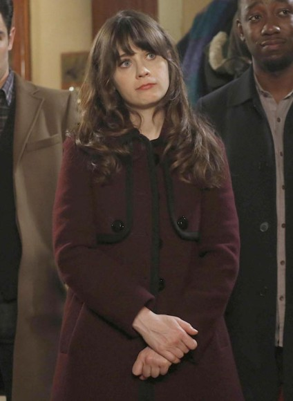 Jess's dark red / ox blood coat on New Girl