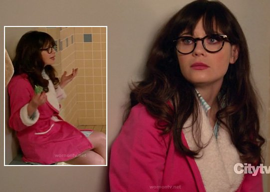 Jess's pink and white sherpa bathrobe on New Girl