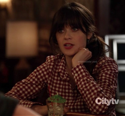 Jess Day's red gingham check top on New Girl