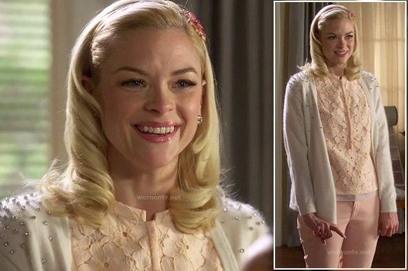 Lemon's white cardigan with rhinestone studded shoulders and peach lace blouse on Hart of Dixie