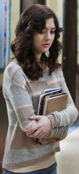Maggie's grey and beige striped sweater on The Carrie Diaries