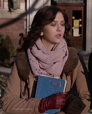 Maggie's pink scarf and brown shearling jacket on The Carrie Diaries