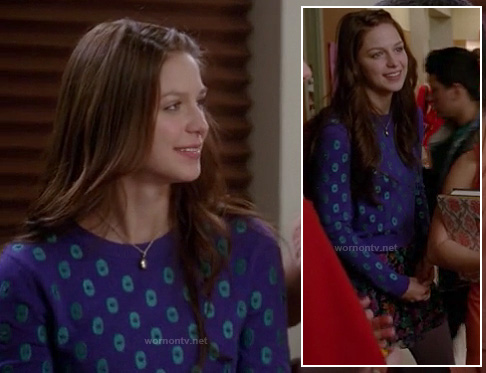 Marley's purple and blue polka dot sweater on Glee