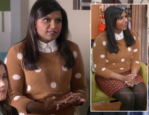 Mindy's light brown polka dot sweater and tweed skirt on The Mindy Project