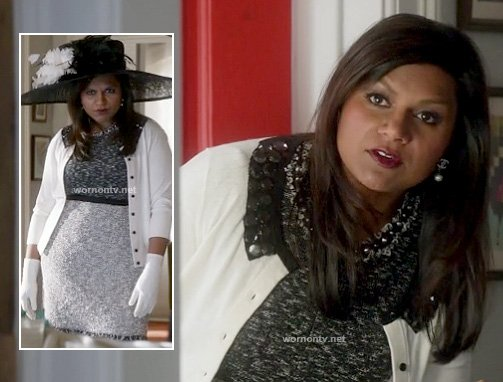 Mindy's grey tweed dress and white cardigan with black jeweled collar on The Mindy Project