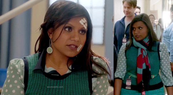 Mindy's navy and green sweater vest with mint polka dot shirt and mint circle earrings on The Mindy Project