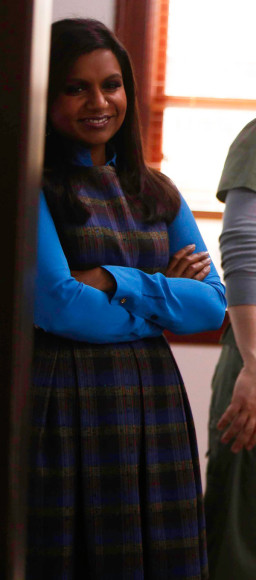 Mindy's blue and purple checkered dress on The Mindy Project