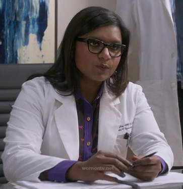 Mindy's purple and black horse shirt on The Mindy Project