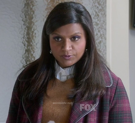 Mindy's red plaid coat on The Mindy Project