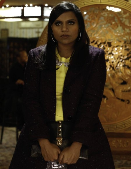 Mindy's yellow rhinestone sweater top on The Mindy Project Birthday ep