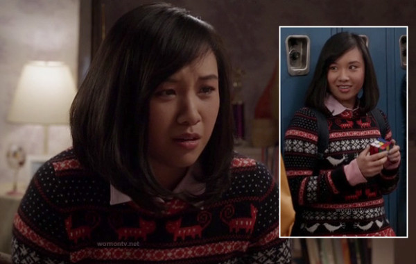 Mouse's orange and black animal sweater on The Carrie Diaries