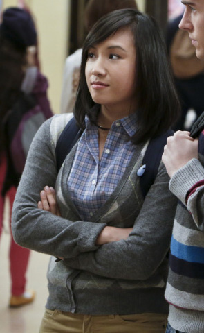 Jill/Mouse's grey argyle cardigan on The Carrie Diaries