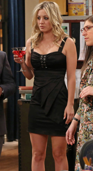Penny's black studded dress on The Big Bang Theory