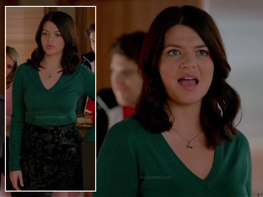 Penny's green v-neck sweater and black jacquard skirt with damask print on Happy Endings