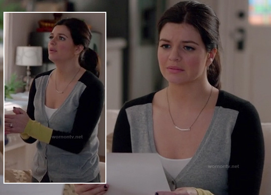 Penny's grey, black and yellow colorblock cardigan and silver bar necklace on Happy Endings