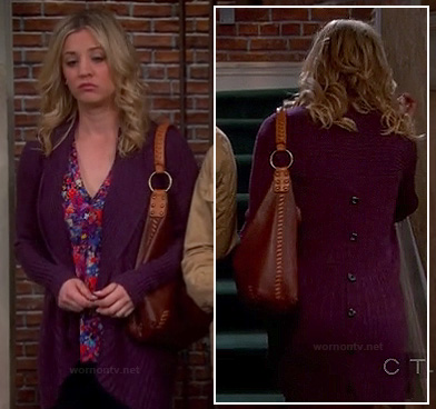 Penny's purple ribbed cardigan with buttons down the back on The Big Bang Theory