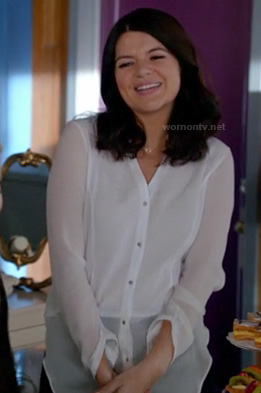 Penny's sheer white shirt on Happy Endings