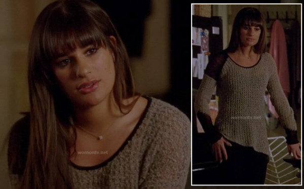 Rachel Berry's grey and black colorblock sweater on Glee