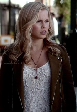 Rebekah's white crochet lace top and moto jacket on The Vampire Diaries