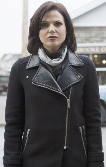Regina's black coat with leather collar on OUAT