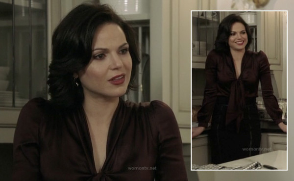 Regina's brown satin top with pussy bow and black skirt on Once Upon a Time