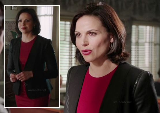 Regina's black blazer with leather zip sleeves on OUAT