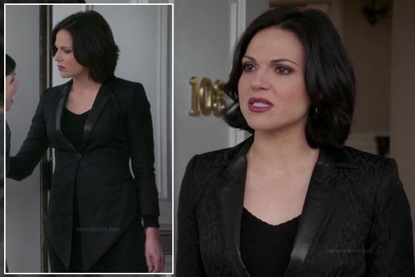 Regina's black leather collar jacket on OUAT