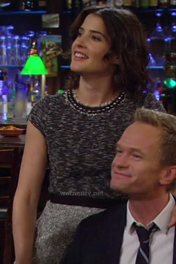 Robin's grey tweed dress on How I Met Your Mother