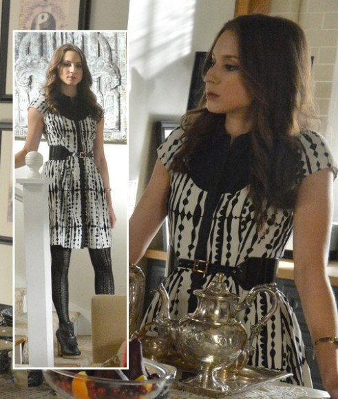 Spencer's black and white shirt dress on PLL